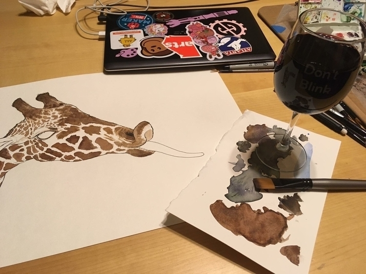 Wine + painting - WIP, giraffe, watercolor - tamarapaints | ello