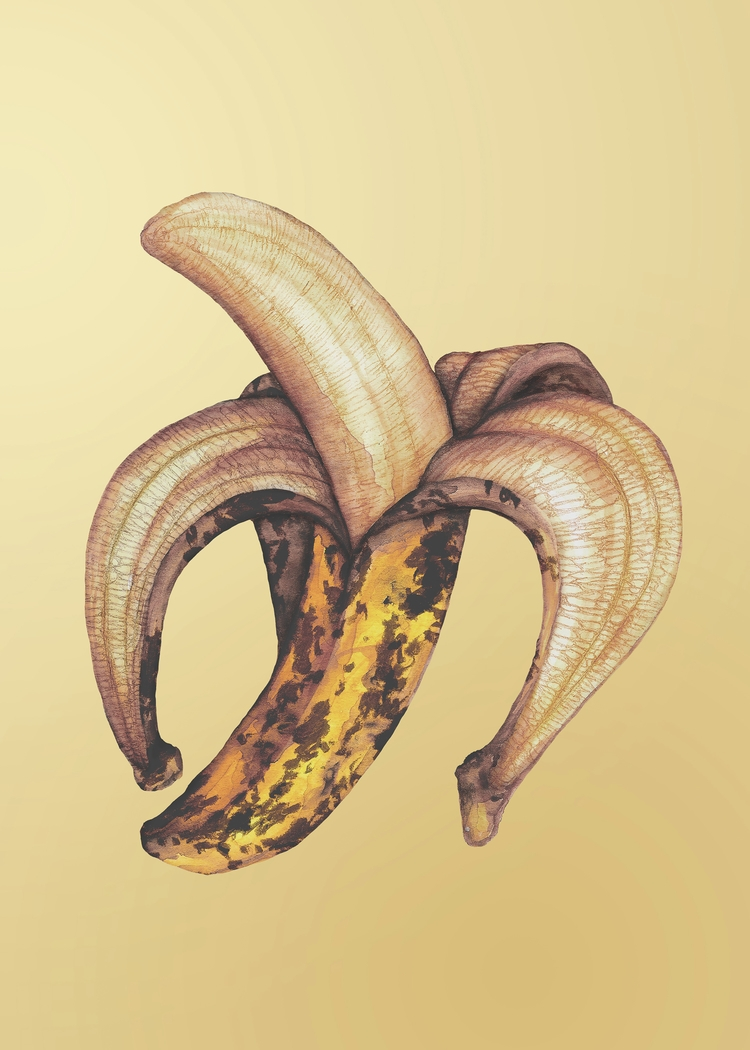 Ripe bana - banana, watercolor, pastelcolors - gastimo | ello
