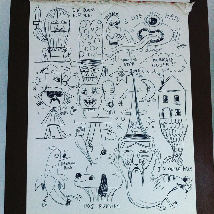 Friday doodle - dog, pudding, banana - jangojim | ello