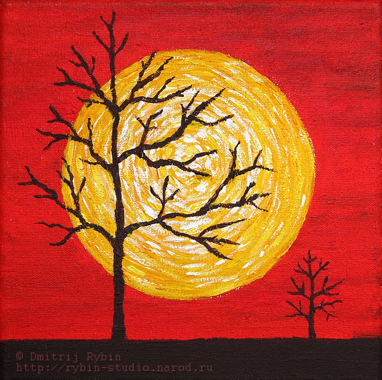 Red sky yellow sun - Acrylic, painting - dmytroua | ello