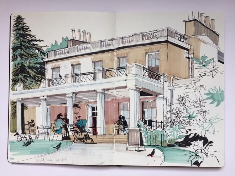 Clissold house, Hackney. London - alexgreendraws | ello