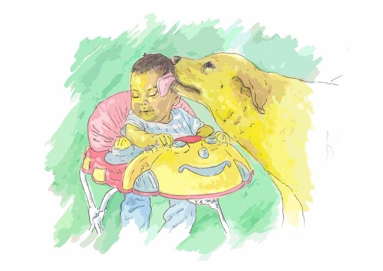 besos, perro, acuarelas - zosilismo | ello