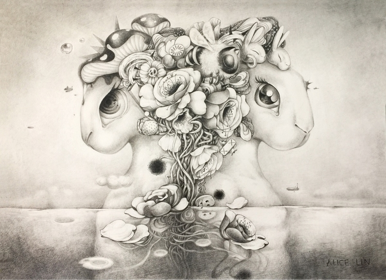 ocean' 39x54cm - drawing, surrealism - alice_lin | ello