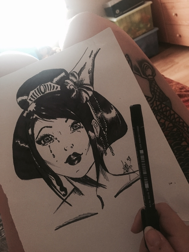 cry, beauty - draw, sketch, girl - patthayami   ello