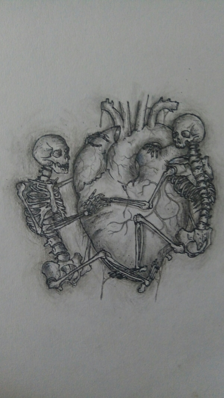 death lovers - love, skull, heart - darkgoath13 | ello
