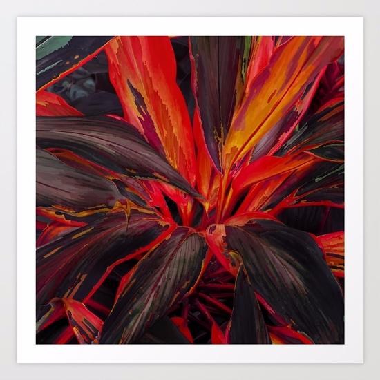 Tropical Leaves Black Red / Dig - lostanaw   ello