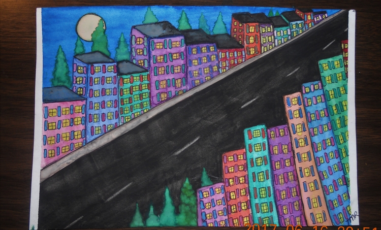 Downtown Rivera 6 x9 watercolor - teerivsaid | ello