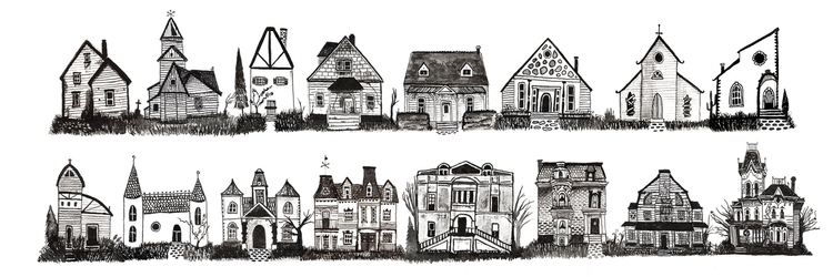 houses terror' Ink paper  - illustration - heylava | ello