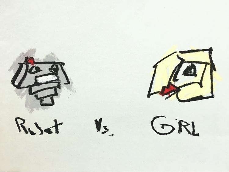 ROBOT GIRL - lofi, art, drawing - jkalamarz | ello