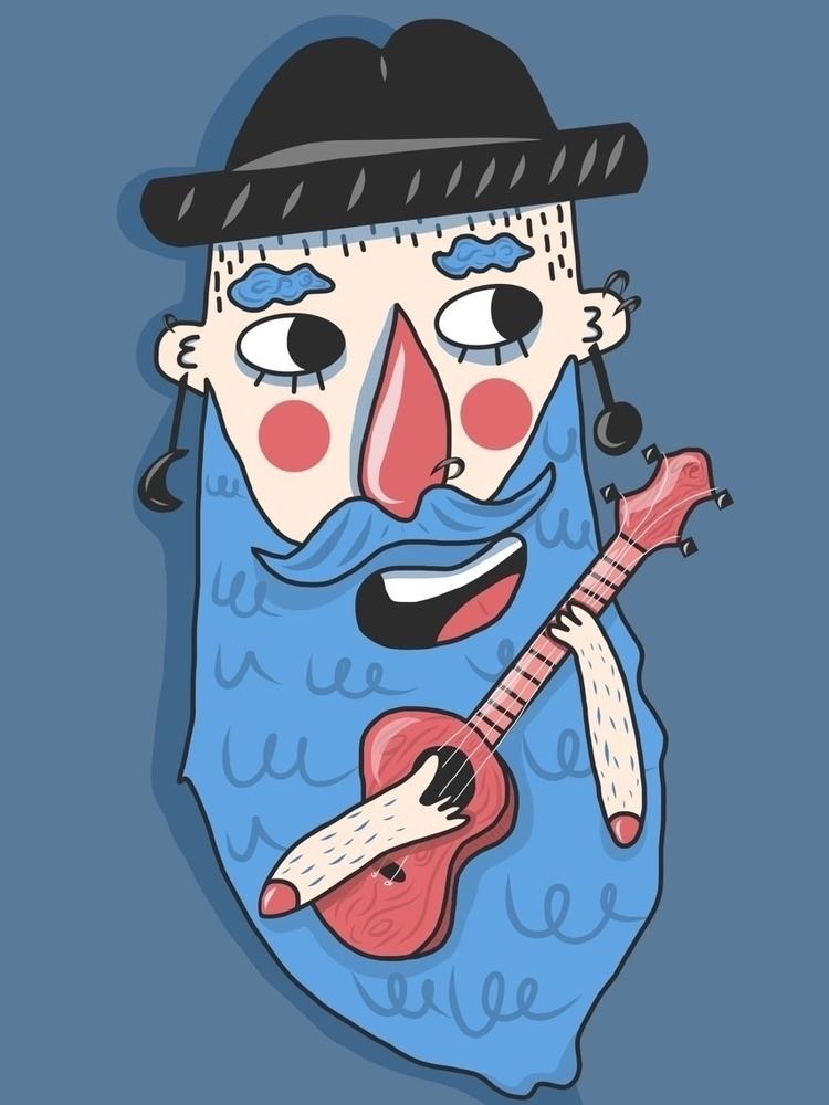illustration, beard, ukulele - hattiemakesthings | ello