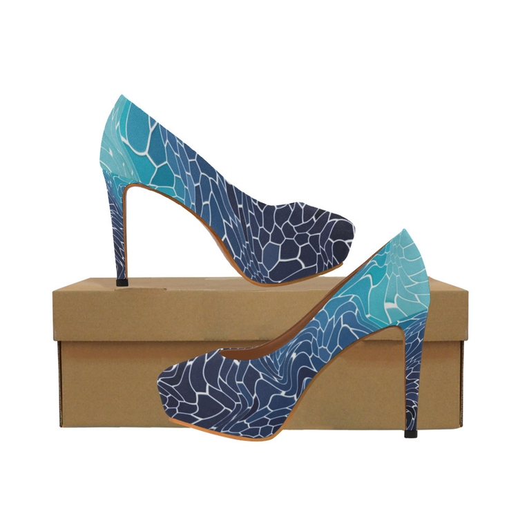 blue wave mosaic high heels cre - cglightningart | ello
