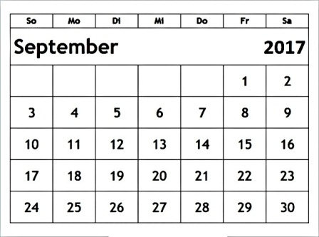 Kalender 2017 September - calendar31 | ello