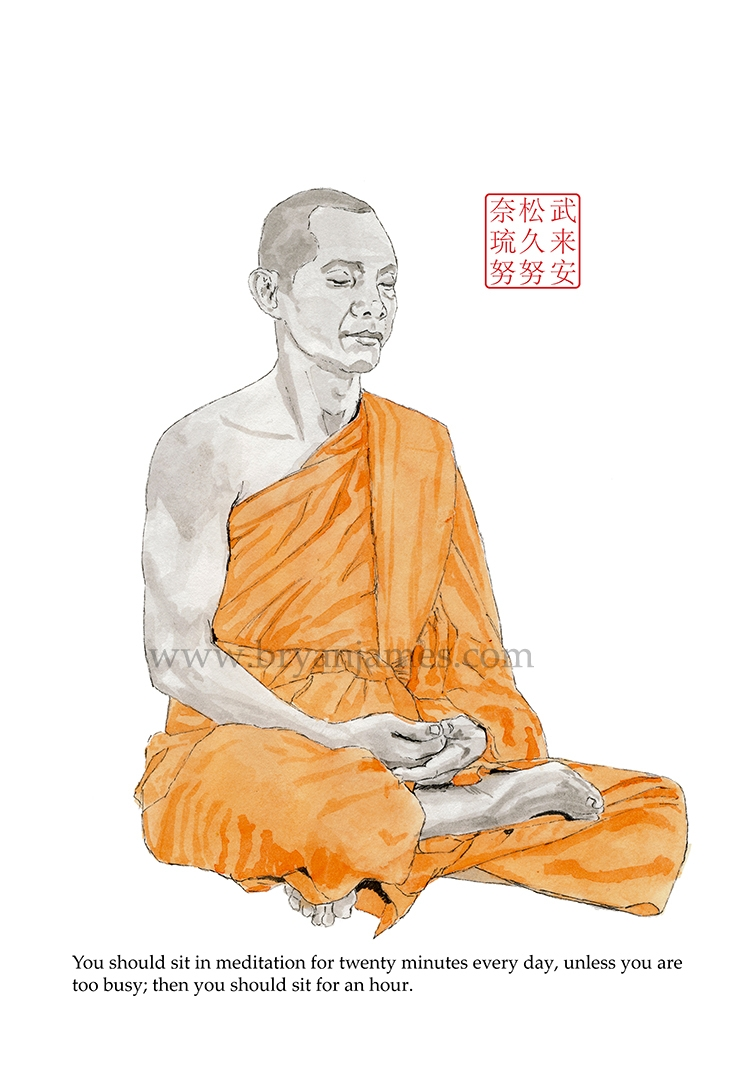 Buddha - ink watercolour paper - bryanjamesart | ello