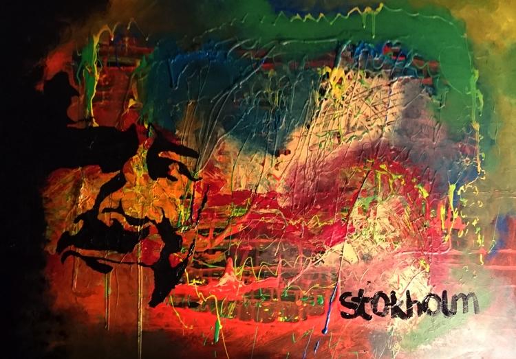 selfportrait, acrylic cardboard - stokholm | ello
