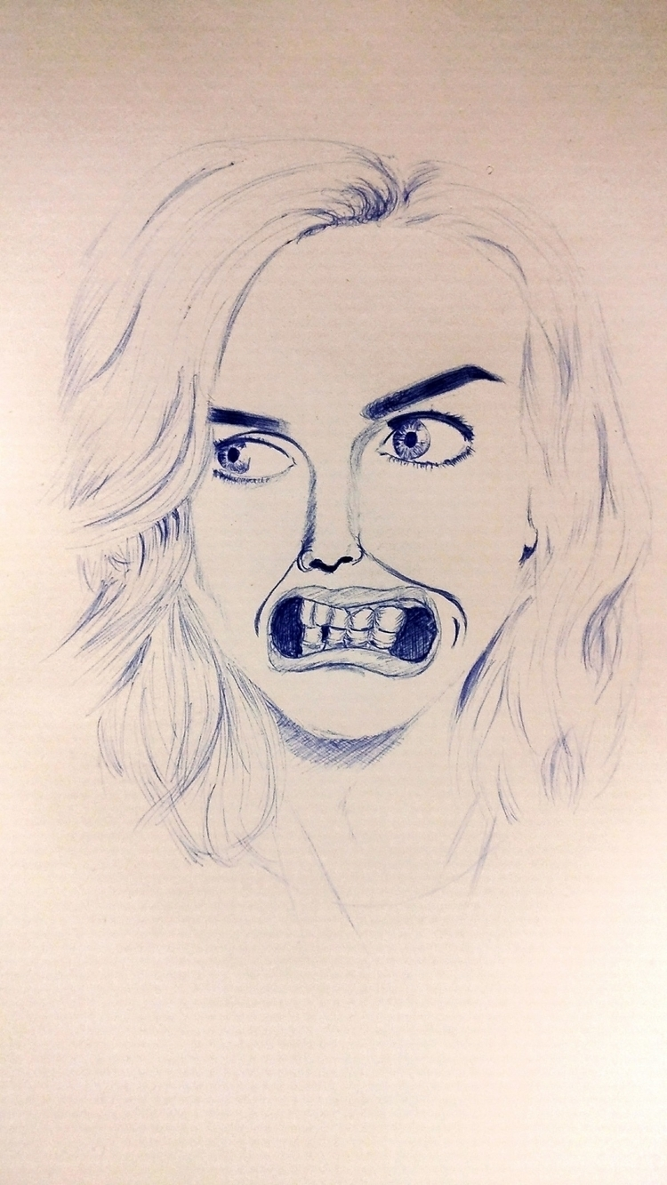 act normal  - happyscreativity#portrait#female#woman#mouth#lips#biro#lady#women#expression#drawing#draw#girl#zeichnung#zeichnen#artsy#kunst#künstler#artgallery#gallery#hair#lippen#frau#frauen#blue#funny#hashtag - happyscreamer | ello