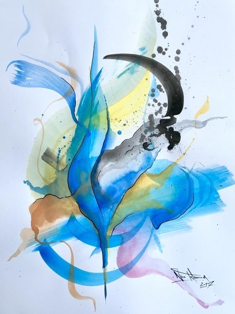 Blue Tulip Watercolor Ink Paper - nicotalamona | ello