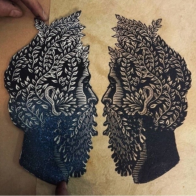 Printing tan amate paper - printmaking - killchoy | ello