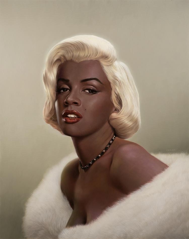 'Black Marilyn' Oil Panel 15 18 - timobrien   ello