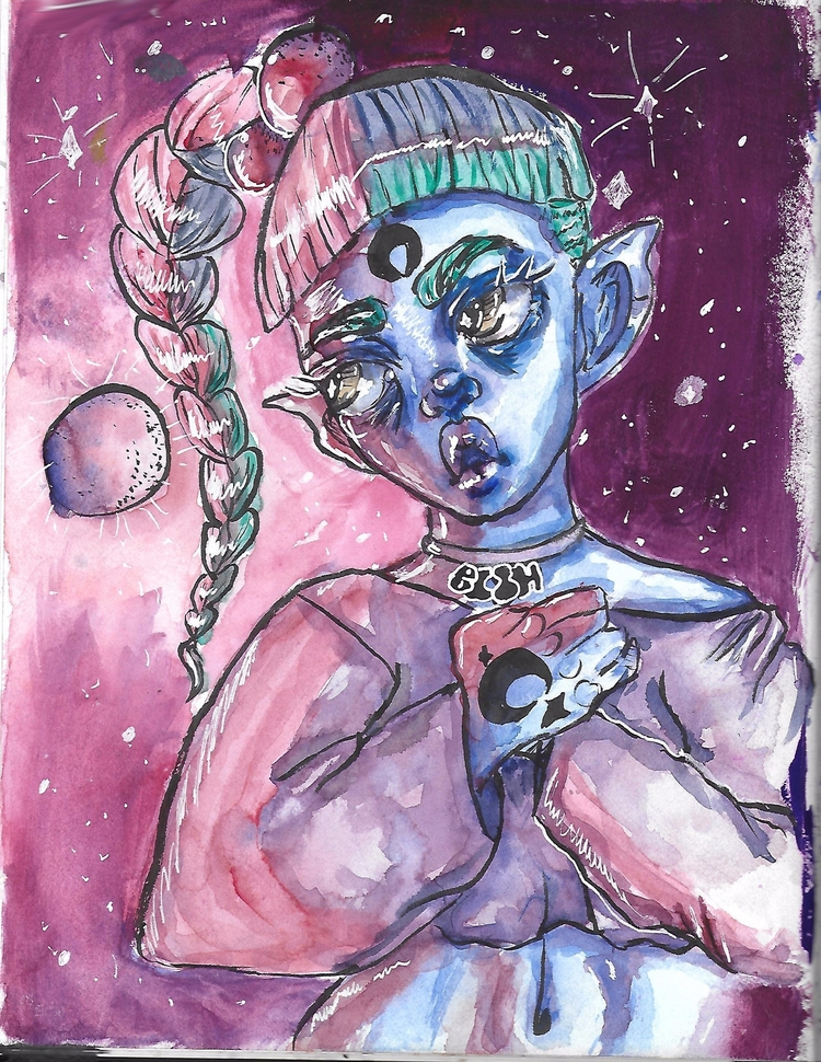 Space mother - art, watercolor, illustration - limemariedupree | ello