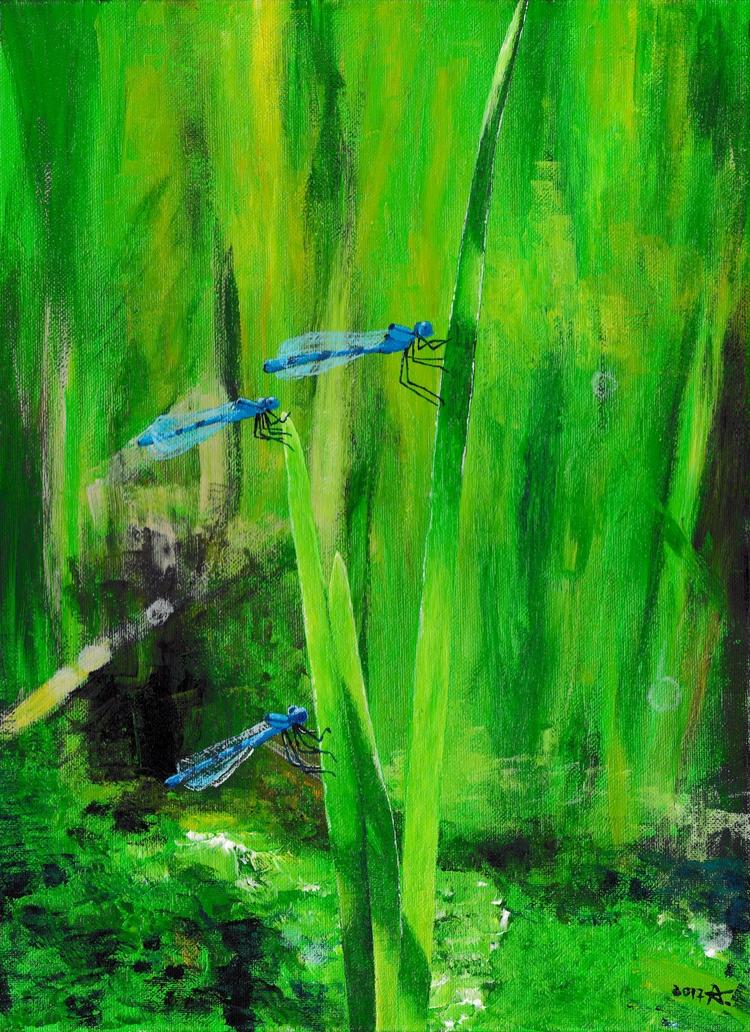 Dragonflies sun Aušrinė - acrylicpainting - raudona | ello