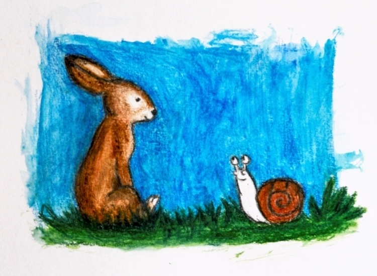 illustration, snail, hare, pencil - maksmj | ello