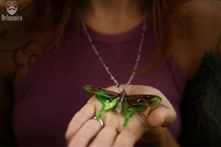 electroformed Luna Moth necklac - faerieblessings | ello