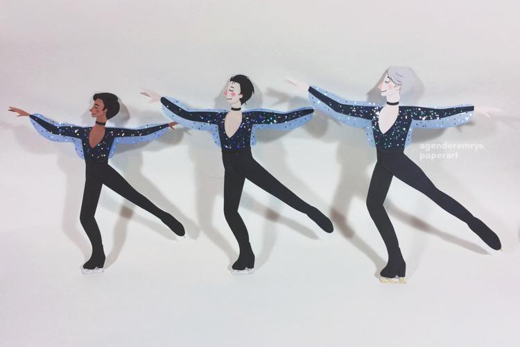 Yuri Ice poly/trio skate paperc - agenderemryspaperart | ello