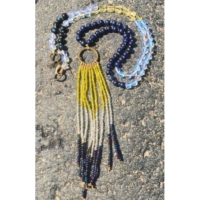 Lapis Lazuli Opal beaded neckla - gypsyxjewels | ello