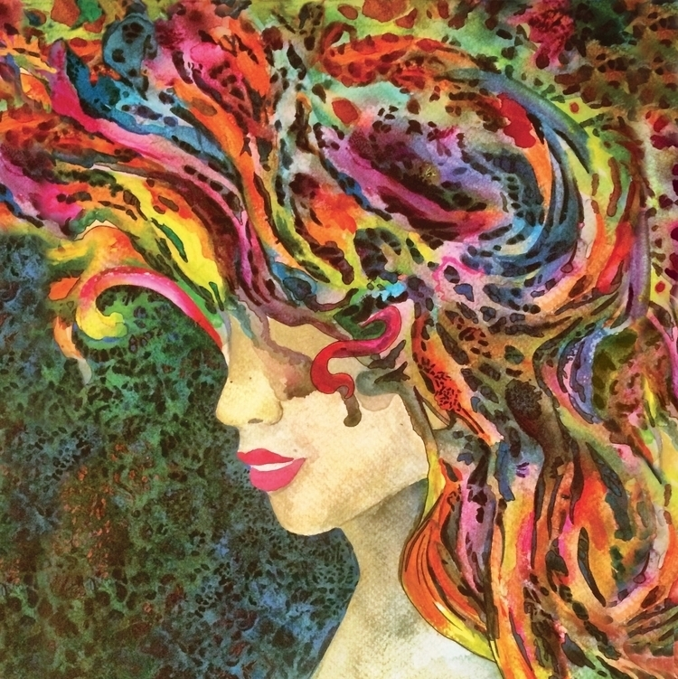 Shake Dreams Hair - acrylic, painting - jorepetto | ello