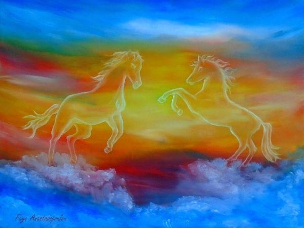 horses, equine, skyscape, colorful - fayeanastasopoulou | ello