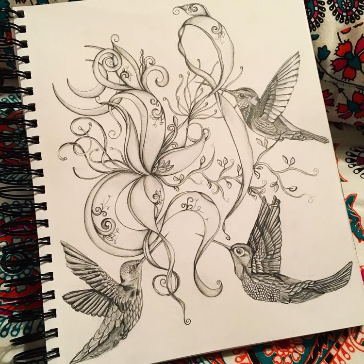 drawing - art, birds, moon - nicolewhelanart | ello