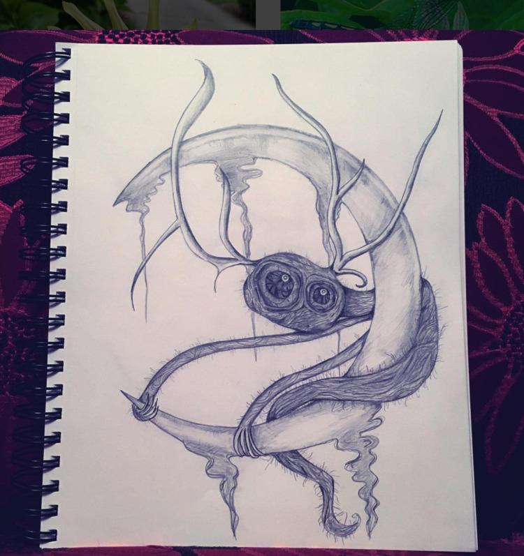 drawing - art, moon, creature - nicolewhelanart | ello