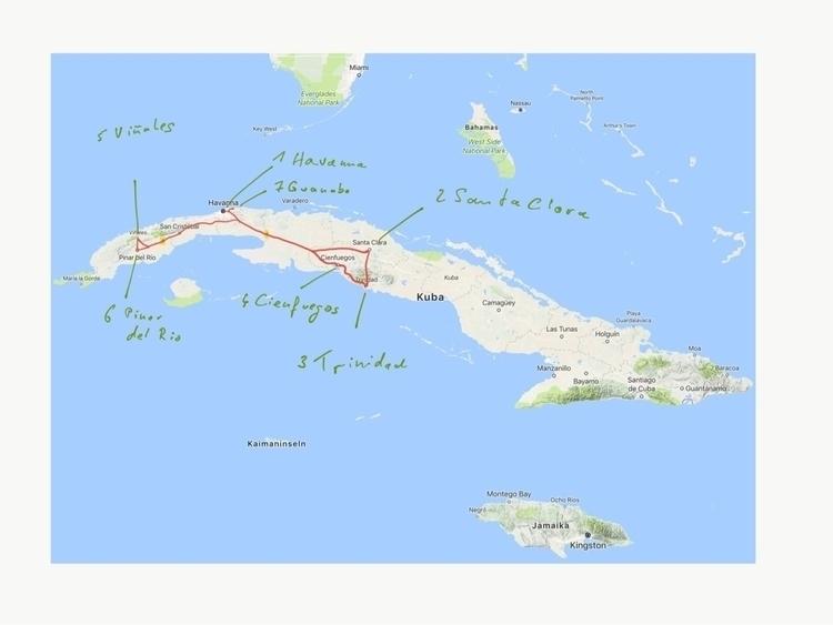 Unsere Route auf Kuba - weltfarben | ello