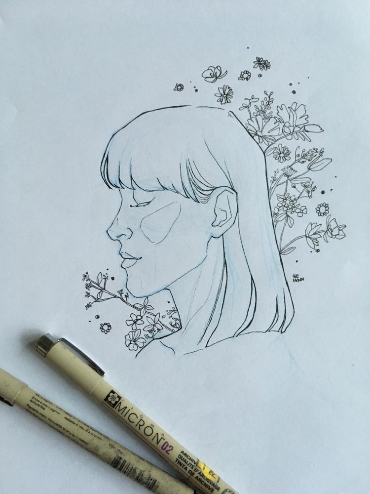 portrait watercolor - wip, linearts - summergurl | ello