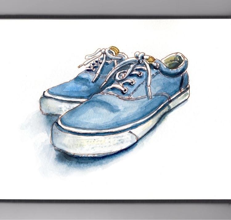- Day 28 Favorite Shoes - WorldWatercolorGroup - doodlewash | ello