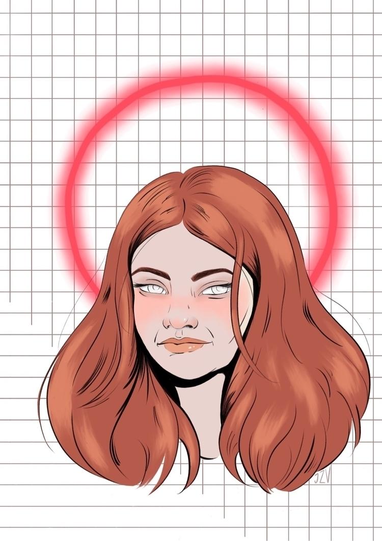 Neon Saints Save - portrait, illustration - jeezvanilla | ello