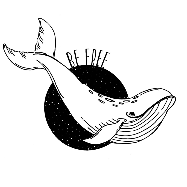 illustration, whale, blackwork - moonflux_studio | ello