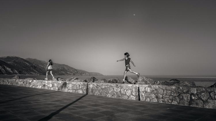 crete, greece, kids, sunset, monochrome - julian_k | ello