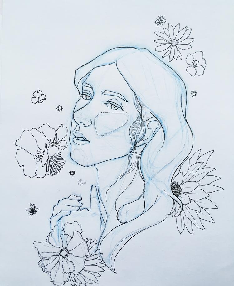 lineart, portrait, illustration - summergurl | ello