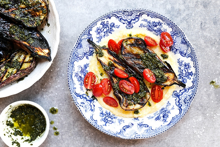Grilled Eggplant Goat Cheese Po - floatingkitchen | ello