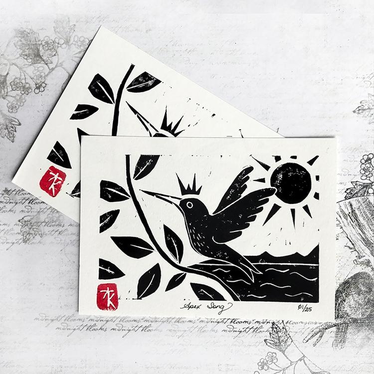 Newest Linocut Print - 'Apex So - auniakahn | ello
