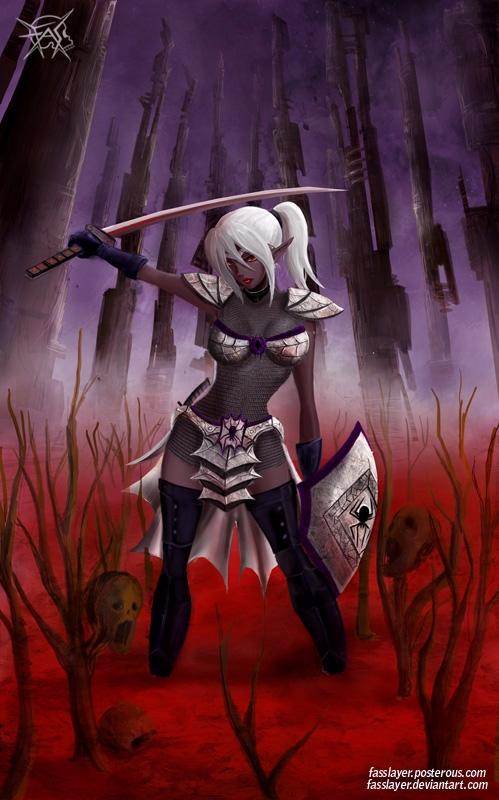 17-9-6 - darkelf, bloody, illustration - fasslayer | ello