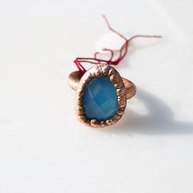 Deep blue chalcedony ring - fivehandsstudio   ello