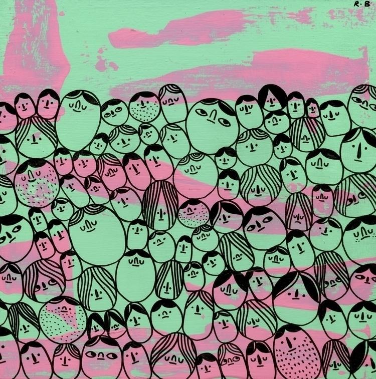 Faces Watermelon Sky. Ink latex - rbubnis | ello
