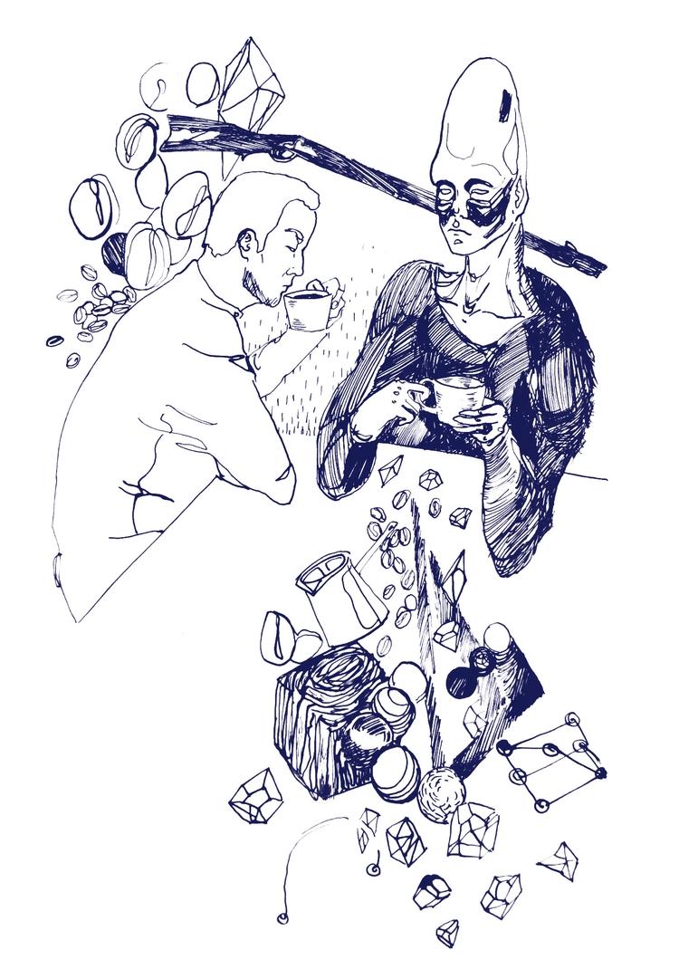 ink, scifi, alien, coffee, waystation - l8b | ello