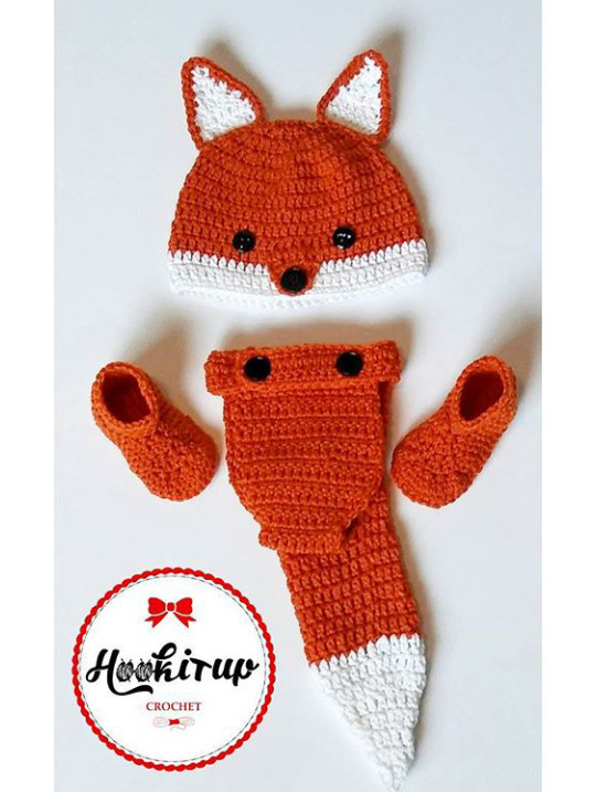Fox baby set - Photoprops, crochet - hookitupcrochet | ello