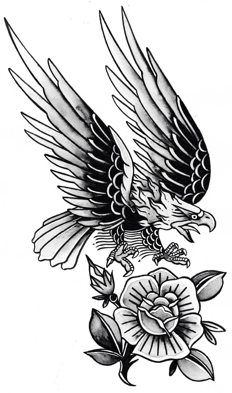 Eagle Rose  - oldschool, handmade - mateuszenere | ello