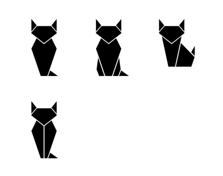 origami, cat, bw, logo, ai, pose - allanberger | ello