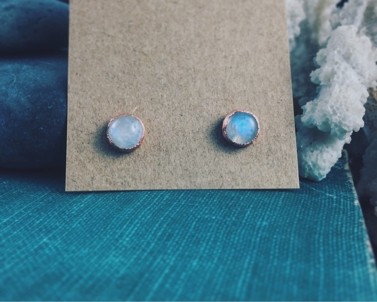 Moonstone studs - jewelry, copperjewelry - lostandfounddesigns | ello