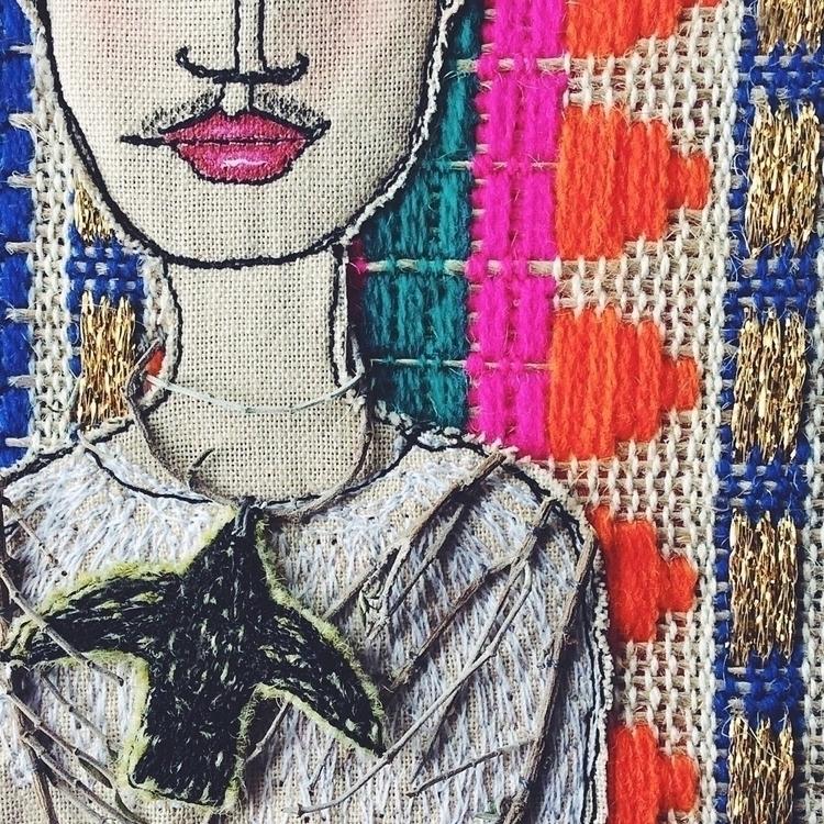 Textile art based Frida Portrai - alittlevintagedoll | ello